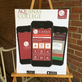 poster on display announcing the new app in the Wege Student Center