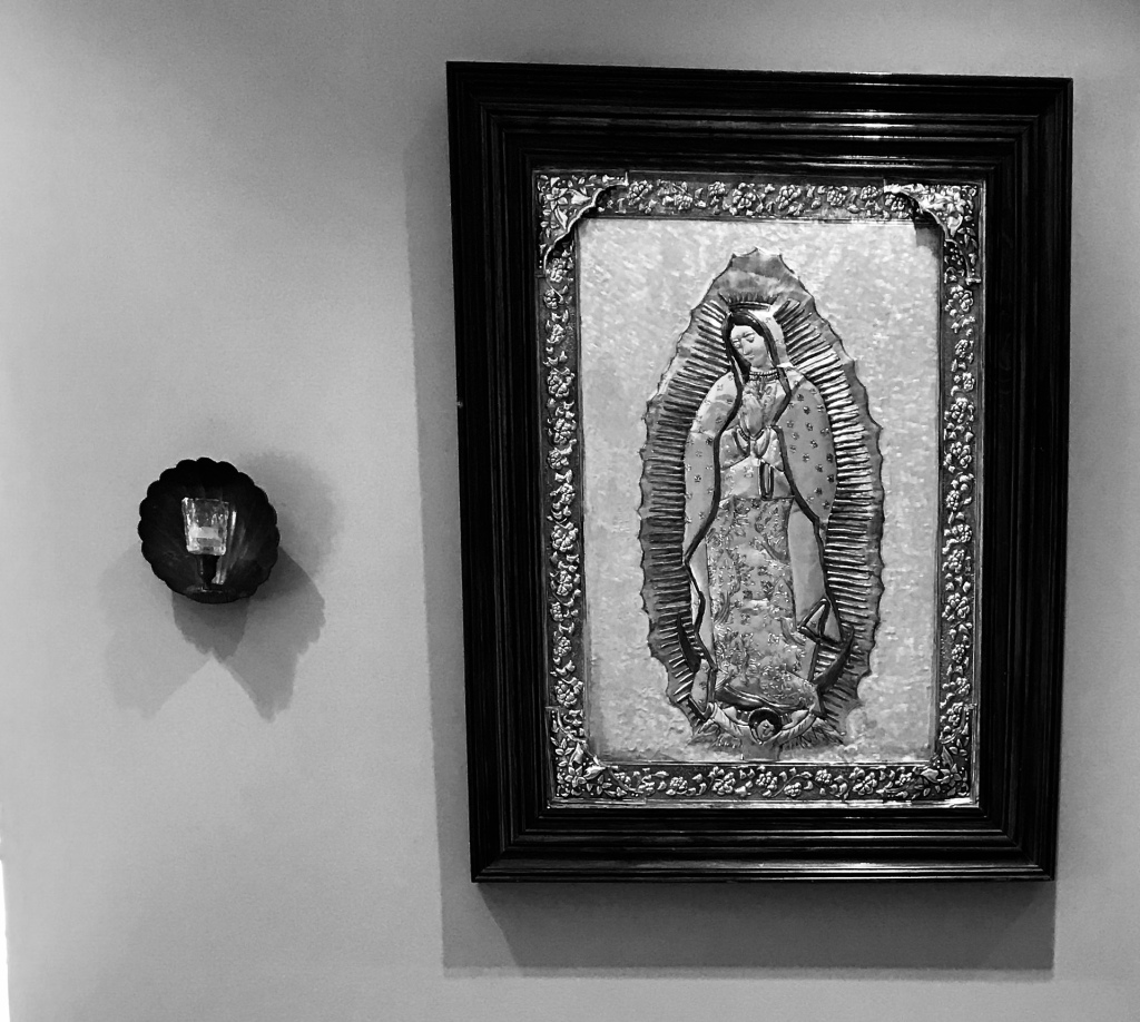 our lady of guadalupe inside the prayer room at the our lady seat of wisdom chapel.