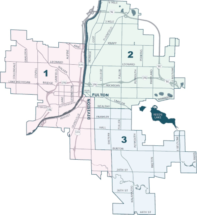 A map showing the three wards Grand Rapids is divided into
