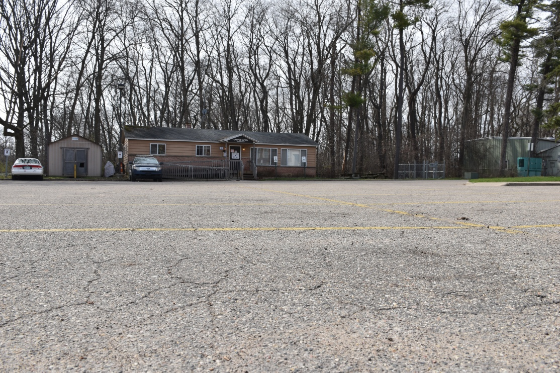 View of the empty parking lot in front of Campus Safety